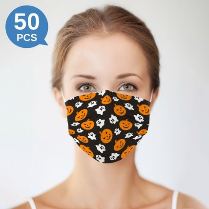 Multicolor Halloween Printed Disposable Face Mask Adult  3-ply(50 PCS - Any 5 colors)